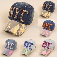 FreeshippingWomen visor Caps Denim Snapback NYC Pattern Trunker Jean Hats 5 Colors