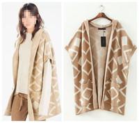 New Fashion 2014 Plaids Pattern Warm Fall/Winter Hooded Sweaters Cardigans Beige Women Clothing Girls Open Stitch Free Shipping