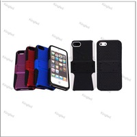 100pcs/Lot  PC Slicon 2 in 1 Plastic Meshy Hard Case Cover for iPhone 5