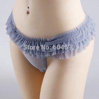 FreeshippingWomen Sexy See Through Lace Underwear Ruffle Briefs Panties Lingerie