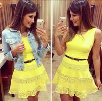 2014 New Brand Summer Dresses Women Sexy Yellow A-line Sleeveless Ladies Midi Party Vestidos Celebrity Chiffon Lace Casual Dress