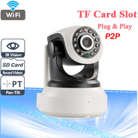 Wifi IP Camera wireless P2P PT Pan Tilt With 32G TF Card Slot And Two Way Audio P2P IP Security Cam
