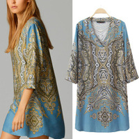 vestidos 2014 new summer fall retro positioned printed women casual dress V neck long sleeved loose chiffon dresses