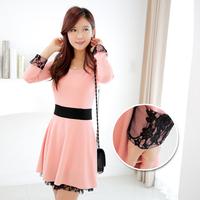 nude color long-sleeve dress lace patchwork dress