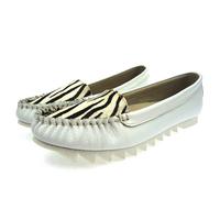Handmade big yard white women flats casual shoes