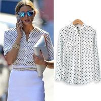 2014 Fashion Women Spring Autumn Blouse Long Sleeve Casual Shirt Polka Dot Printed chiffion Shirt Plus Size Blusas Femininas
