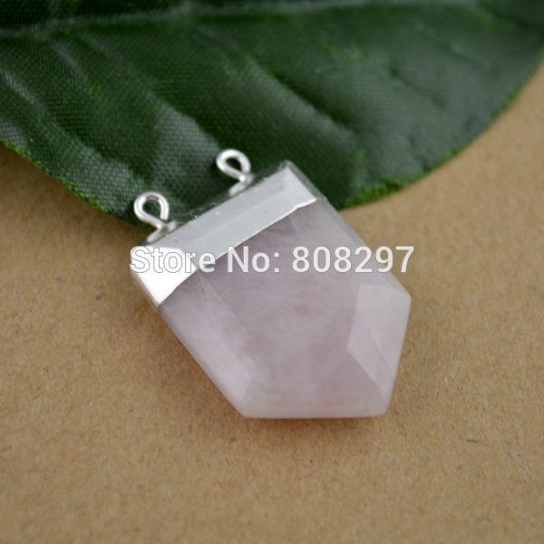 8Pcs Silver & Druzy Rose Quartz Side Ways Stone Chakra Column Bead Pendant  Fit Necklace