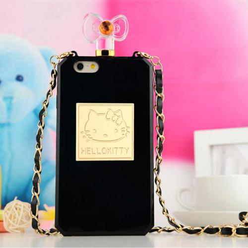 "New Hot Sale Luxury Hello Kitty Perfume Bottle Lanyard Chain Phone Cases for iphone 6 4.7"" plus Handbag Tpu Cover Free shipping(China (Mainland))"