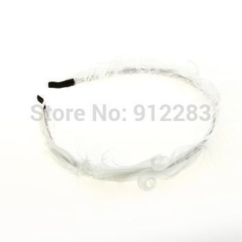 Free Shipping 10 pcs Women Lady Headband Head Band Headwear White Feather Hot #50693(China (Mainland))