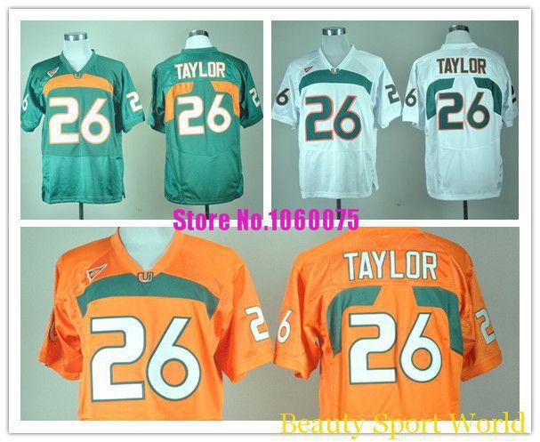 Shop Discount Jerseys Low Price Miami Hurricanes #26 Sean Taylor Jersey White Orange College Football Jersey Discount 100% Stitc(China (Mainland))