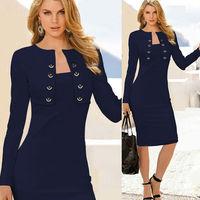 2015 european new Sexy open front bandage bodycon dress women sheath long sleeve winter dress elegant causal office dress b10