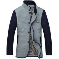 Charm Business Men Fashion Wool Jackets Blends Size M-2XL Patchwork Design Mandarin Collar Man Winter Slim Coats