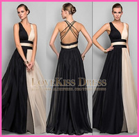 Chiffon Sexy Backless Deep V-Neck Elegant A-line 2014 Formal Prom Evening Dresses Gown Free Shipping 2015