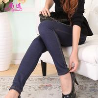 Autumn and winter plus velvet thickening faux denim high waist legging plus size slim pencil pants