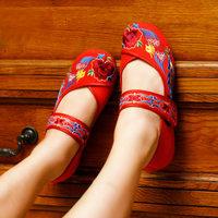 13 Пекин вышитая обувь многослойный единственного производства хлопка круглый мыс Обувь национальной тенденции плюс размер женщин сандалии красный 49