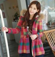 Spot for fall/winter 2014 the new women's Korean wool outerwear Korea loose fur collar coat woolen cloth women