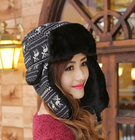 Ms. Lei Feng cap autumn and winter fashion warm hat deer printing plush ear cap 57cm