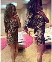 2014 fall and winter clothes new style women's fashion Sleeve Deep V-neck leopard print chiffon dress sexy nightclub dress