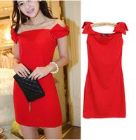 Stylish Hot Sale Girl Red Bow Tie Dress Sleeveless Slash Neck Women Quality Slim Dress Free CPAM YS2999