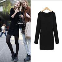 M-5XL 2014 New Hot Autumn Winter Vestidos For Women Clothing Plus Size Dresses European style minimalist package hip dress