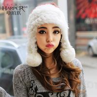 Rabbit fur ear protector cap color block fur hat female sweet lei feng cap