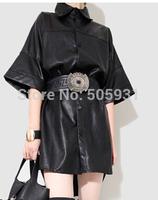 High Quality PU Leather Dress Long Shirt B Style Free Size