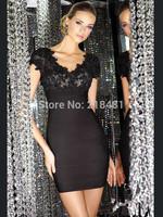 Mermaid V-neck Short Sleeve Black Lace See Through Sequins Above Knee Length Open V-back Mini Short  Cocktail Dresses Prom