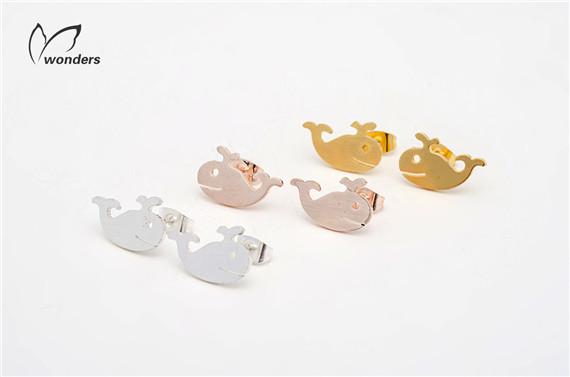 Ocean Marine Inspire Whale Studs Earrings For Women(China (Mainland))