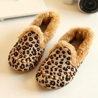 2014 winter children shoes warm fur kids shoes casual leopard shoes for girl