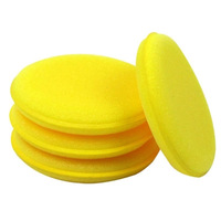 Car clean auto wash sponge round blank small washing 12 pieces yellow color tense durable automotive accessories styling new hot