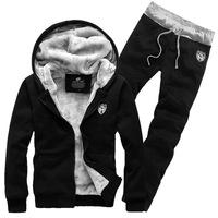 2014 winter sportswear comfort single copper metal zipper design Men's suit Fleece sweater pants hoodies sport set sweatshits
