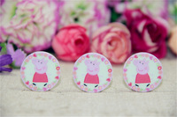 Free Shipping 50pcs/lot 25mm flat back peppa pig party planar resin for diy holiday decoration crafts