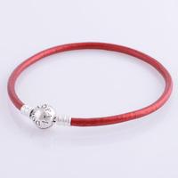 bracelet silver 925 sterling bracelests for women round red genuine leather bracelet men PL302 wholesale