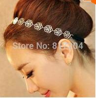 Fashion Vintage Beauty Rose Headband Hairpin Hair Jewelry Free Shipping  Gold x070