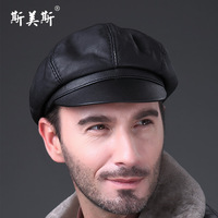 Octagonal cap genuine leather hat male winter thermal leather hat old man hat the elderly hat