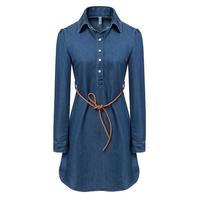 2014 women's fashion turn-down collar pullover long-sleeve lacing tencel denim skirt slim one-piece dress