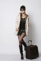 2014 women's wool coat winter liner trench overcoat medium-long slim fur jacket overcoat cashmere coat women