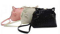 2014 new handbags - Fashion white leather woven bag - leather shell bag - mini diagonal small bag (two or more reduction 10%)