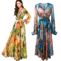 2014 bohemia lantern sleeve chiffon V-neck long-sleeve dress expansion skirt sunscreen