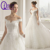 Import Beautiful Off Shoulder Crystal Beaded Lace Ball Gown Description Of Wedding Dress 2014