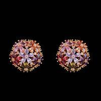 Brazil 2014 Hot Brincos Ouro Color Zircon Zircon Earrings Ear Acupuncture
