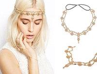 Fashion Crystal Flower Headband Charm Women Gold Plated Crystal Flower Pendant Head Chain Forehead Headband For Xmas Gift