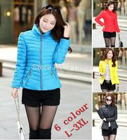 2014 New Female Brand Coat Warm Jacket Down Fashion Casual Slim Outerwear Down Parkas For women Winter 6 Colour Plus Size L-3XL