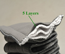 5Pcs lot Bamboo Fiber Charcoal 5 layers Washable Cloth Diaper Nappies Microfiber Insert Reusable Free Shipping