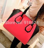 2014 New Hot Smile Color Contrast Women PU Shoulder Handbag Wild Casual Belt Cross Body Messenger Bag Free Shipping TFH