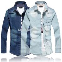 C218 New Fashion Men's Casual Luxury Stylish Washed Slim Fit Denim Jeans Shirts
