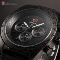 Shark Stainless Steel Relogio Masculino Black Dial 3ATM WaterProof Chronograph Quartz Rubber Band Sport Men Luminous Watch/SH274