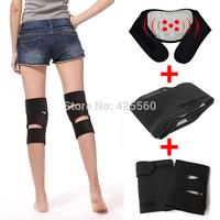 Tourmaline Self Heating Magnetic Therapy Waist + Kneepad Support + Tourmaline Heating Neck Pad Belt Massage 4pcs=1set
