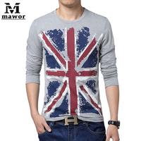 11.11 Plus Size 4XL 5XL New Men's T Shirt Autumn Slim t shirts Flag Print Long-sleeved T-shirt Casual Men Clothing MT290