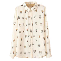 Hot selling! Spring women long sleeve shirt,Turn down collar lovely cat head print ,Women single button brief & casual shirt